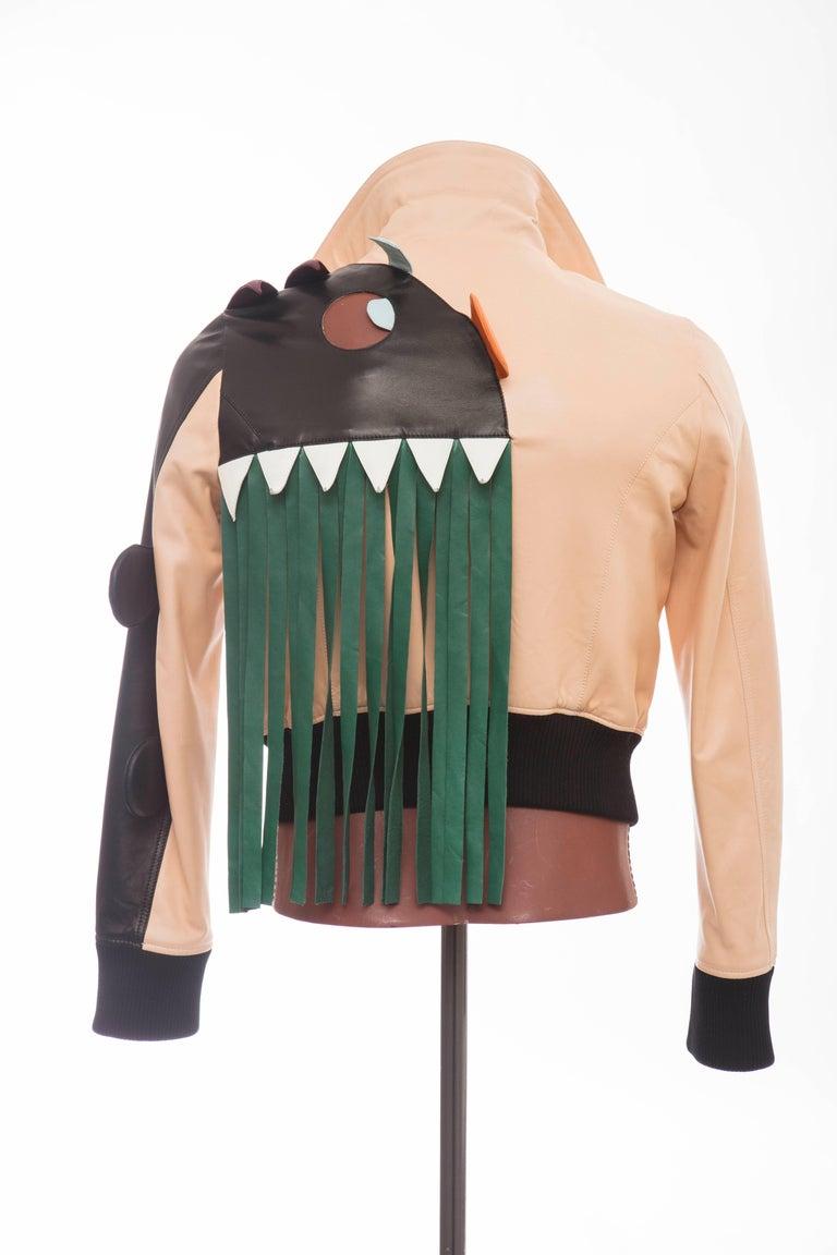 Walter Van Beirendonck Men's Runway Leather Fringe Monster Jacket , Spring 2016 In Excellent Condition For Sale In Cincinnati, OH