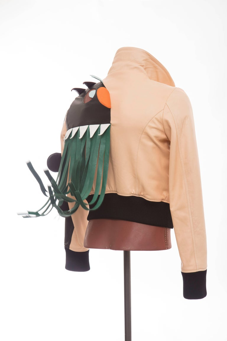 Walter Van Beirendonck, from the 'Electric Eye' Spring-Summer 2016 Collection, men's blush lamb leather Monster Jacket with multicolor leather panelings throughout, dual slit pockets at front, cutout monster face and tassels at back, tonal