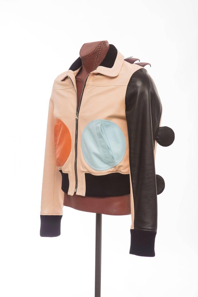 Beige Walter Van Beirendonck Men's Runway Leather Fringe Monster Jacket , Spring 2016 For Sale