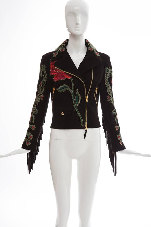 Moschino Black Suede Gold Stud Embroidered Jacket With Fringe Trim, Fall 2013 2