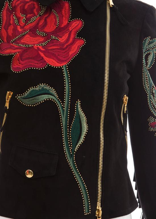 Moschino Black Suede Gold Stud Embroidered Jacket With Fringe Trim, Fall 2013 6