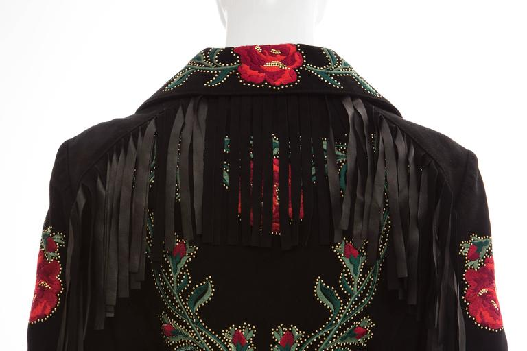Moschino Black Suede Gold Stud Embroidered Jacket With Fringe Trim, Fall 2013 9
