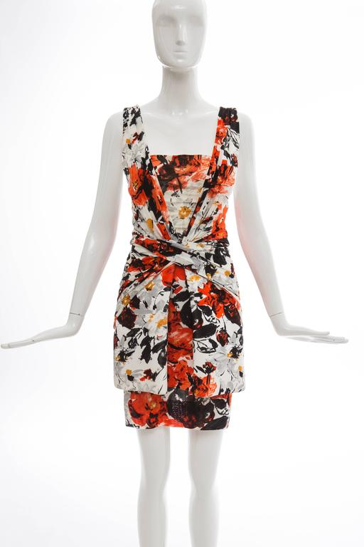 Nicolas Ghesquiere for Balenciaga, Spring-Summer 2008, sleeveless floral dress, with pleated neoprene overlay at skirt, draping throughout, interior boning and invisible back zip closure.  FR. 36 US. 4  Bust: 32