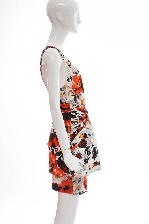 Beige Nicolas Ghesquiere For Balenciaga Floral Neoprene Dress, Spring - Summer 2008 For Sale