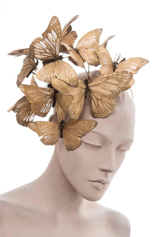 Philip Treacy Headband With Matte Gold Butterfly Appliqués And Jewel Accents 2