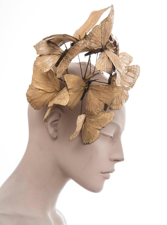 Philip Treacy Headband With Matte Gold Butterfly Appliqués And Jewel Accents 3