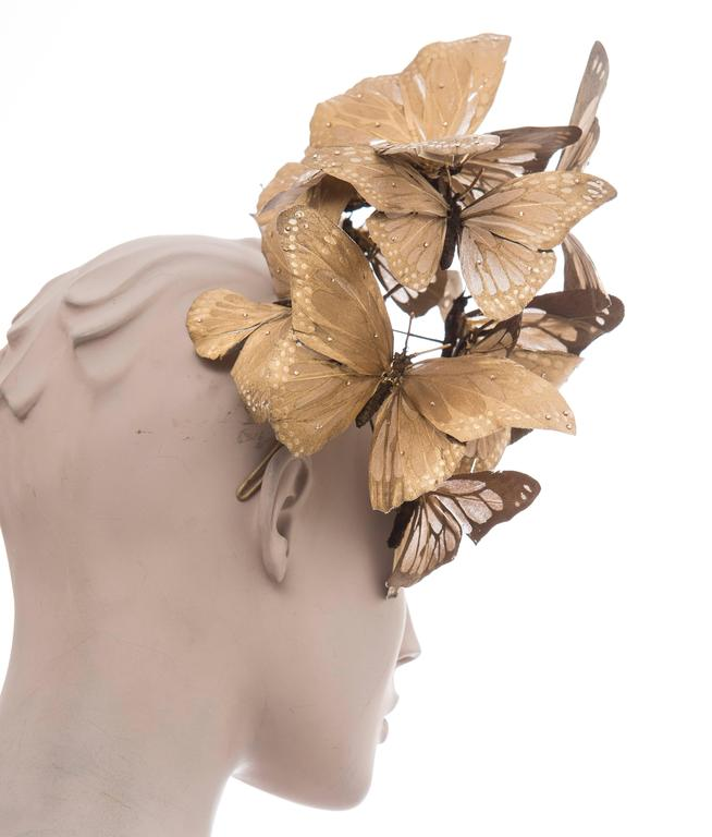 Philip Treacy Headband With Matte Gold Butterfly Appliqués And Jewel Accents 4