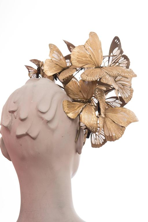 Philip Treacy Headband With Matte Gold Butterfly Appliqués And Jewel Accents 5