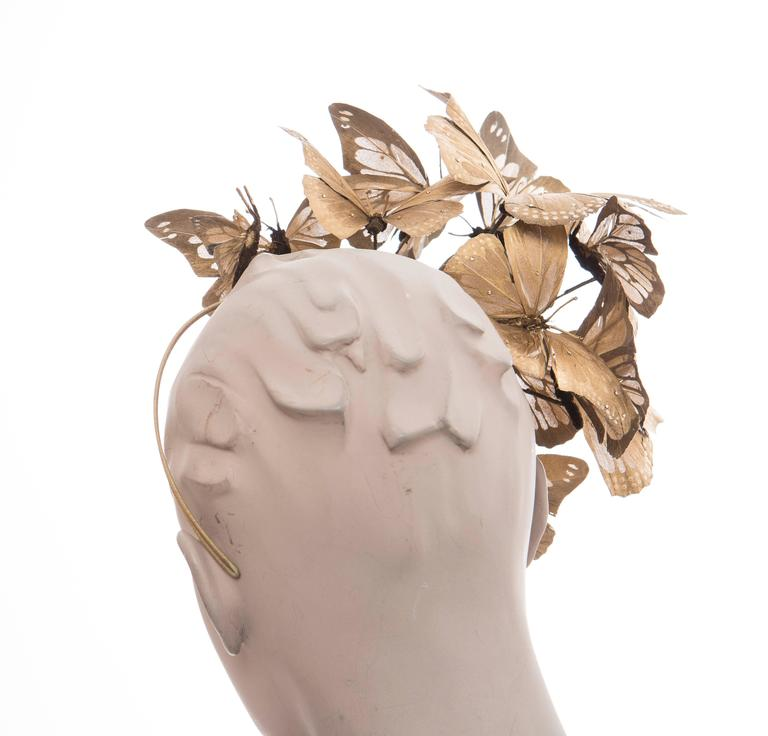 Philip Treacy Headband With Matte Gold Butterfly Appliqués And Jewel Accents 6
