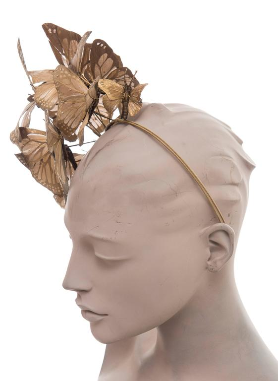 Philip Treacy Headband With Matte Gold Butterfly Appliqués And Jewel Accents 7