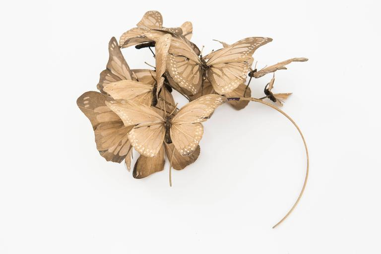 Philip Treacy Headband With Matte Gold Butterfly Appliqués And Jewel Accents 9
