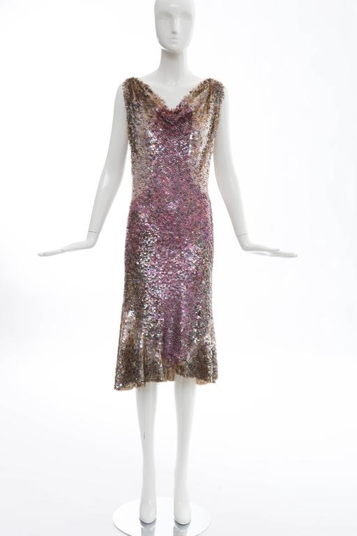Zac Posen, Spring - Summer 2004 Runway sleeveless dress with paillettes, flounce hem, V-back and fully lined.  US. 8 but fits a 6  Bust: 30, Waist 28, Hips 34, Length 43.5