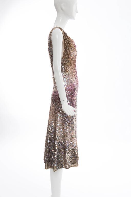 Gray Zac Posen Runway Sleeveless Evening Dress Paillettes Flounce Hem, Spring 2004 For Sale