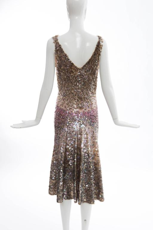 Zac Posen Runway Sleeveless Evening Dress Paillettes Flounce Hem, Spring 2004 In Excellent Condition For Sale In Cincinnati, OH