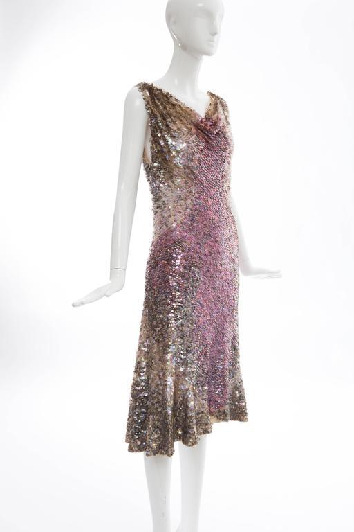Women's Zac Posen Runway Sleeveless Evening Dress Paillettes Flounce Hem, Spring 2004 For Sale