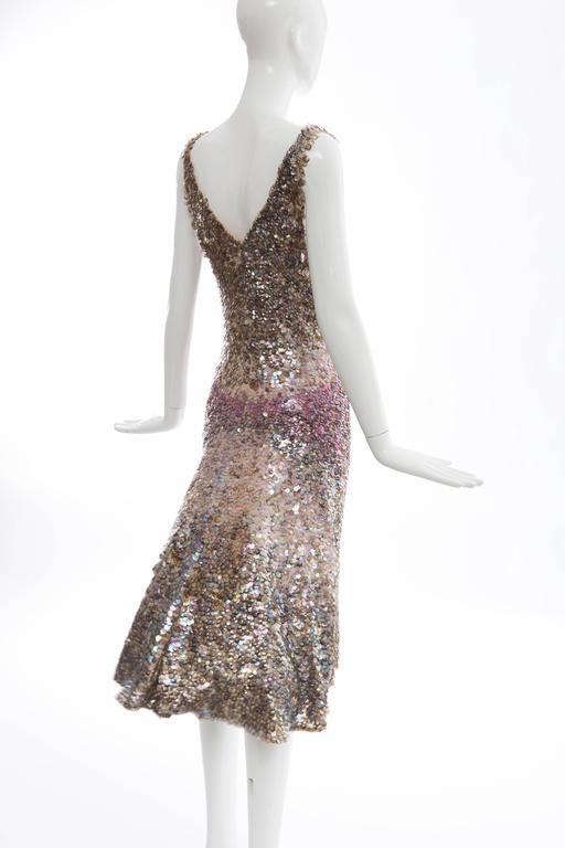 Zac Posen Runway Sleeveless Evening Dress Paillettes Flounce Hem, Spring 2004 For Sale 4