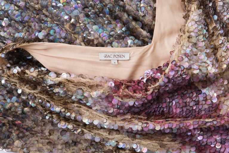 Zac Posen Runway Sleeveless Evening Dress Paillettes Flounce Hem, Spring 2004 For Sale 5