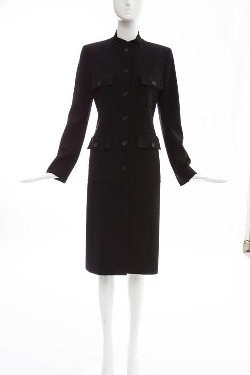 Celine black lightweight wool gabardine button front coat, four button front pockets and fully lined.  EU. 38 US. 6