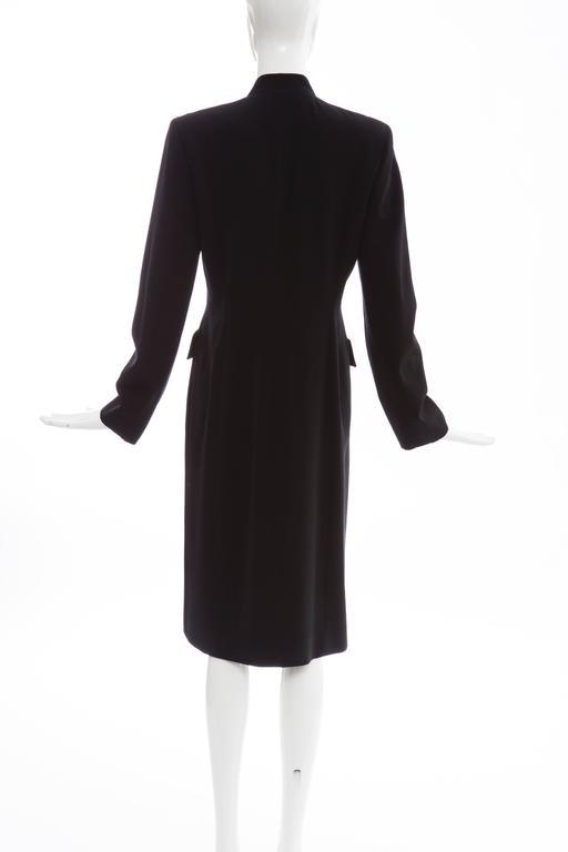 Women's Michael Kors For Celine Black Wool Lightweight Gabardine Button Front Coat For Sale