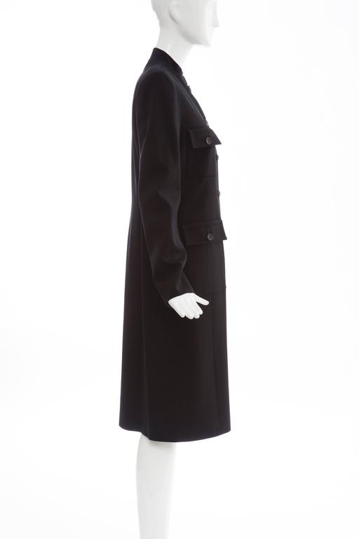 Michael Kors For Celine Black Wool Lightweight Gabardine Button Front Coat In Excellent Condition For Sale In Cincinnati, OH