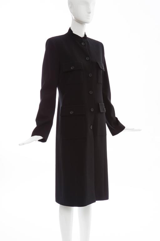 Michael Kors For Celine Black Wool Lightweight Gabardine Button Front Coat For Sale 1