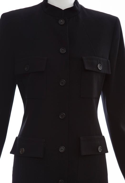 Michael Kors For Celine Black Wool Lightweight Gabardine Button Front Coat For Sale 2