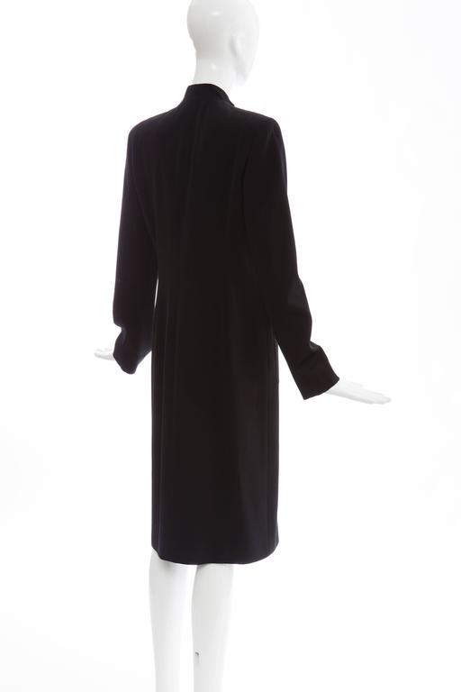 Michael Kors For Celine Black Wool Lightweight Gabardine Button Front Coat For Sale 3
