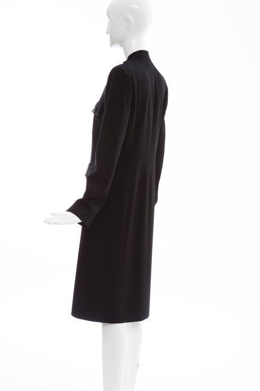 Michael Kors For Celine Black Wool Lightweight Gabardine Button Front Coat For Sale 4