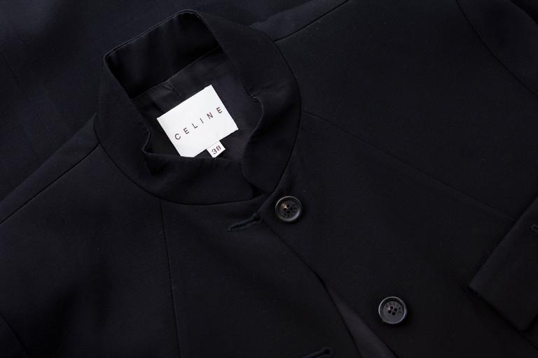 Michael Kors For Celine Black Wool Lightweight Gabardine Button Front Coat For Sale 5