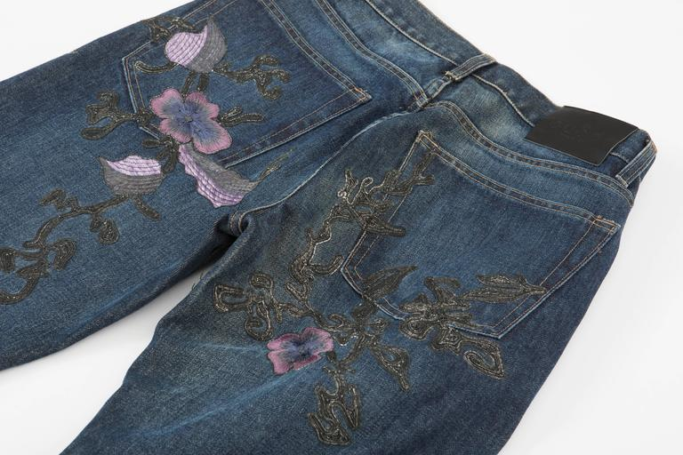 Tom ford for gucci men s floral embroidered jeans autumn