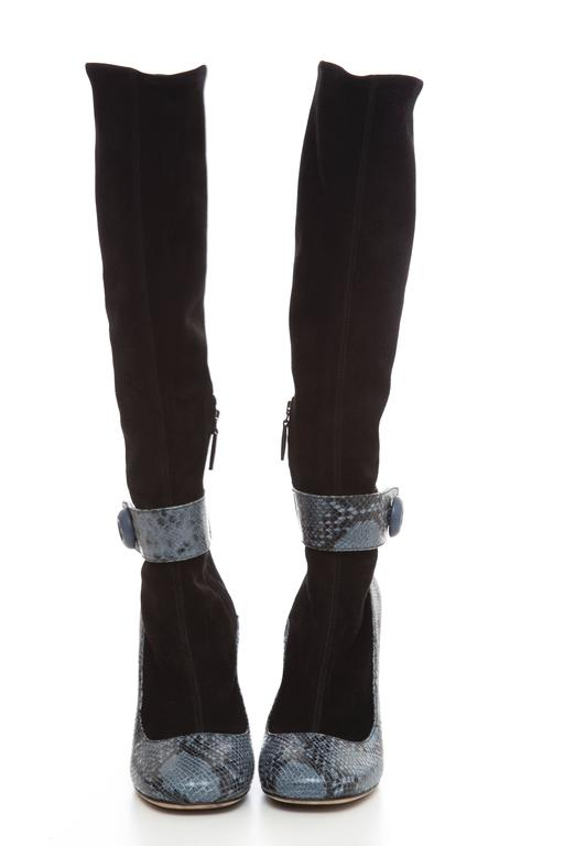Prada Black Suede Boots With Python Trim, Autumn