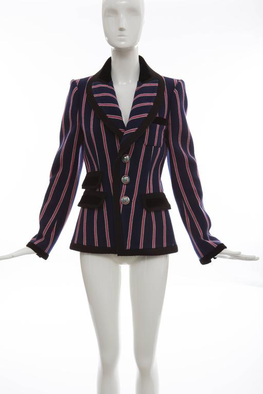 Nicolas Ghesquière For Balenciaga, Autumn-Winter 2007, runway wool blazer with shawl collar, vertical striped pattern throughout, single patch pocket at bust, triple faux flap pockets at front, dual vent at back and enameled button clsoures at