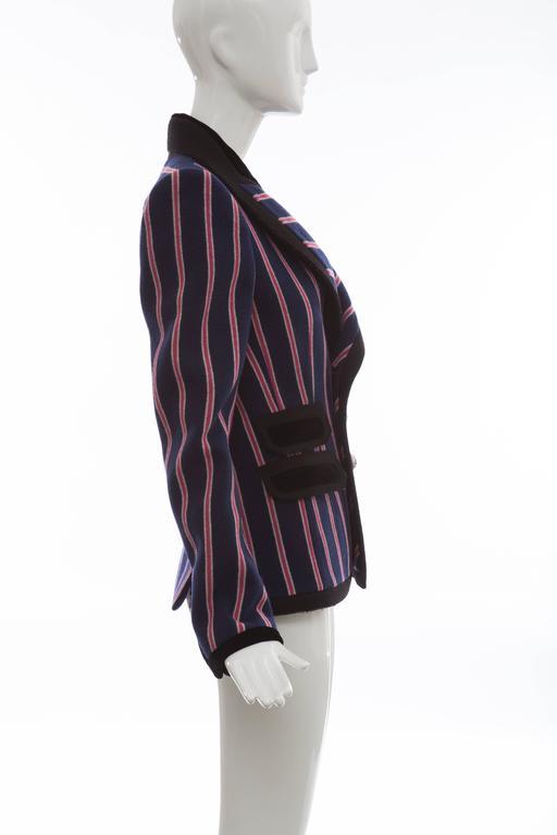 Black Nicolas Ghesquière for Balenciaga Runway Striped Wool Blazer, Fall 2007 For Sale
