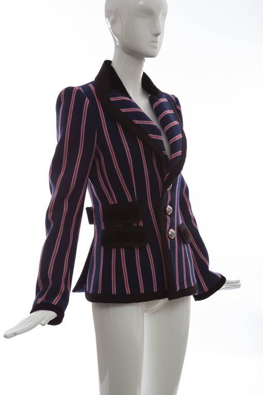 Women's Nicolas Ghesquière for Balenciaga Runway Striped Wool Blazer, Fall 2007 For Sale