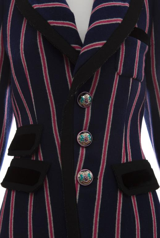 Nicolas Ghesquière for Balenciaga Runway Striped Wool Blazer, Fall 2007 For Sale 1