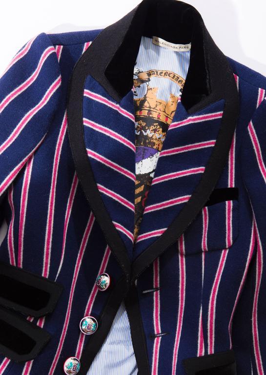 Nicolas Ghesquière for Balenciaga Runway Striped Wool Blazer, Fall 2007 For Sale 5