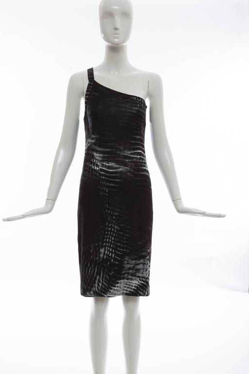 Tom Ford for Gucci, Spring-Summer 2000 one-shoulder dress with abstract print throughout, thin single strap and tonal stitching.