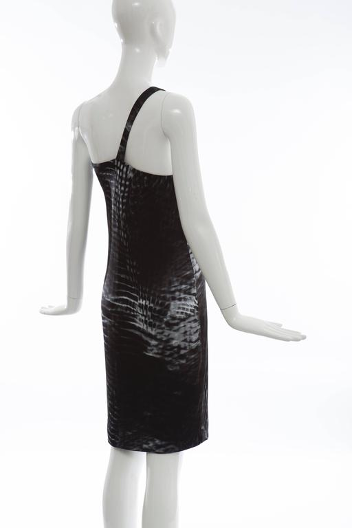 Tom Ford for Gucci Runway Black One-Shoulder Printed Dress , Spring 2000 For Sale 3