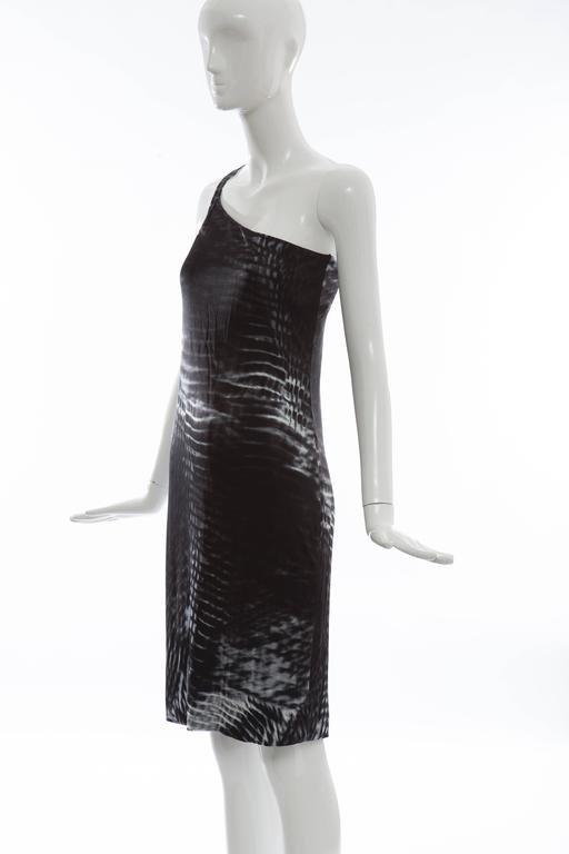 Tom Ford for Gucci Runway Black One-Shoulder Printed Dress , Spring 2000 For Sale 5