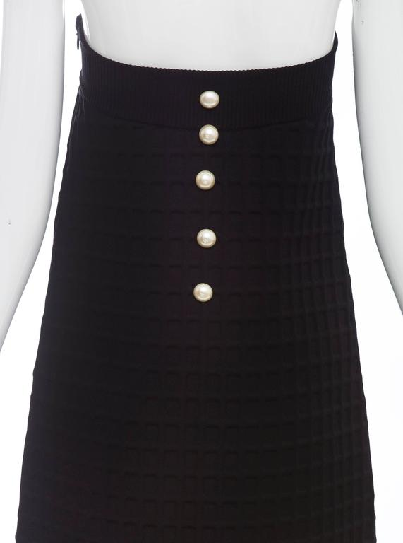 Chanel Runway Black Strapless Waffle Weave Pearl Button Back Dress, Spring 2013 For Sale 3