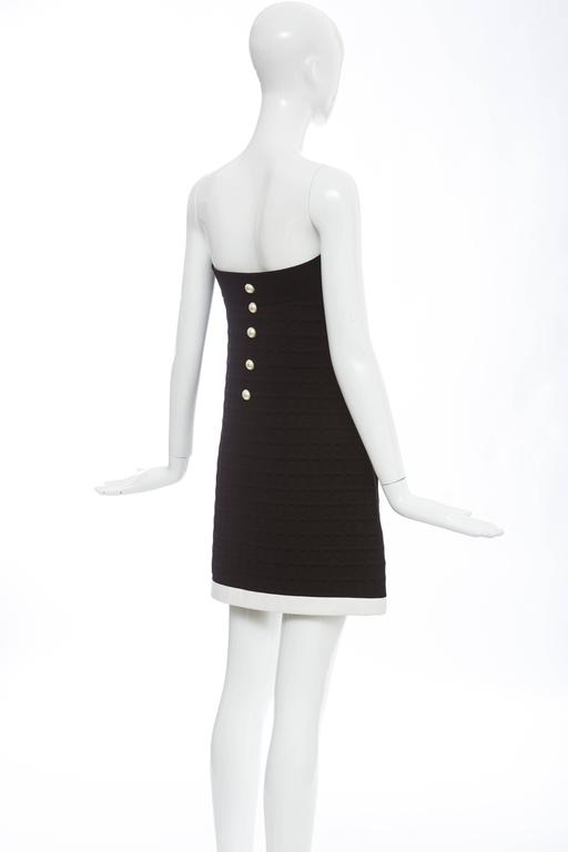 Chanel Runway Black Strapless Waffle Weave Pearl Button Back Dress, Spring 2013 For Sale 4