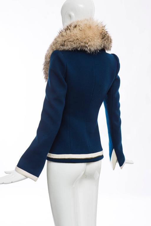 Nicolas Ghesquière For Balenciaga Fur Trim Wool Blazer ...