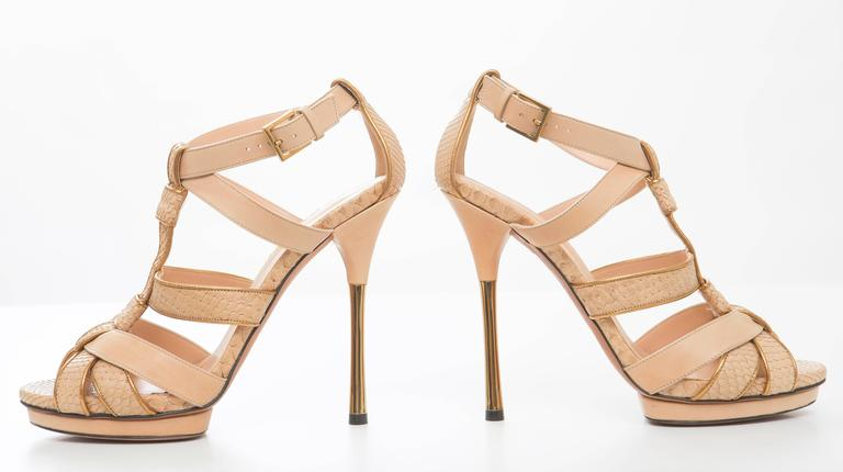 Gucci Leather Platform Sandal With Rose Gold Heel 2