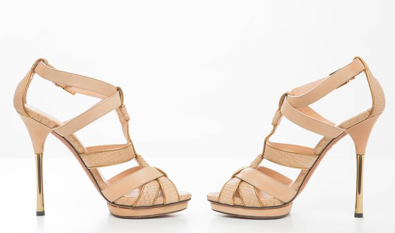 Gucci Leather Platform Sandal With Rose Gold Heel 4