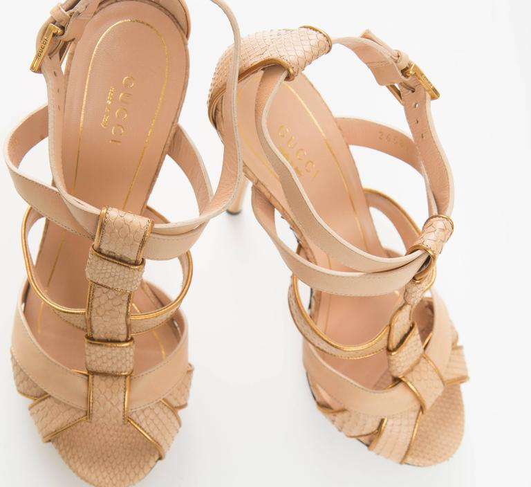 Gucci Leather Platform Sandal With Rose Gold Heel 7