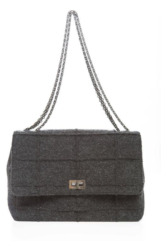 Chanel 2.55 Charcoal Grey Wool Jumbo Flap Bag, Autumn - Winter 1999 2