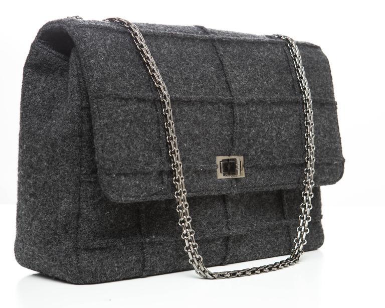 Chanel 2.55 Charcoal Grey Wool Jumbo Flap Bag, Autumn - Winter 1999 3
