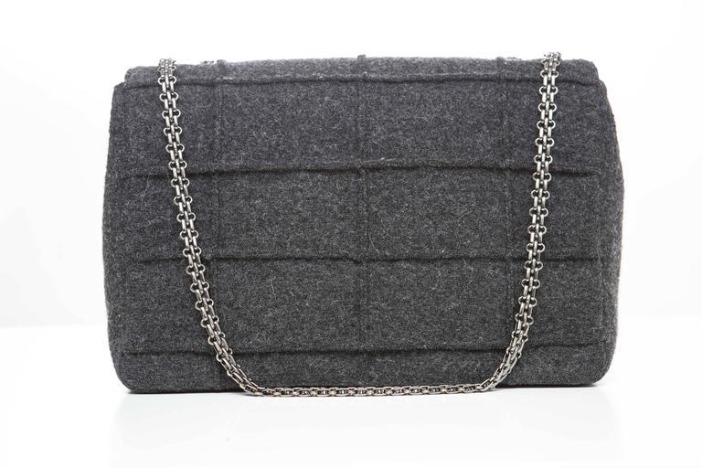 Chanel 2.55 Charcoal Grey Wool Jumbo Flap Bag, Autumn - Winter 1999 4