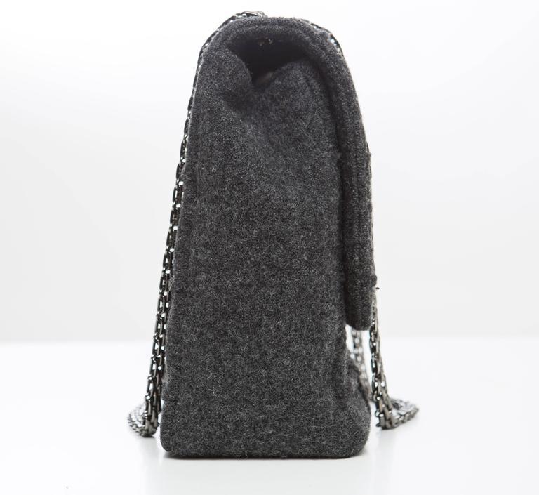Chanel 2.55 Charcoal Grey Wool Jumbo Flap Bag, Autumn - Winter 1999 5