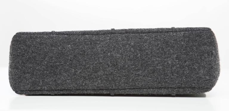 Chanel 2.55 Charcoal Grey Wool Jumbo Flap Bag, Autumn - Winter 1999 6